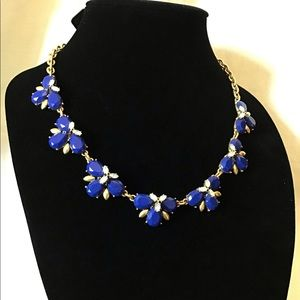J. Crew Blue Crystal Statement Necklace